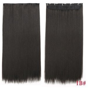 Long straight synthetic hair extensions black